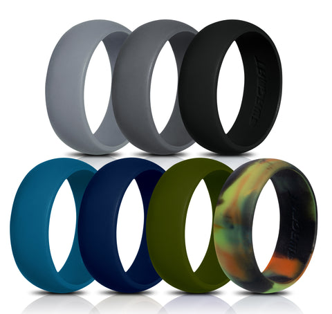 Image of Men's Silicone Wedding Rings - 7 Pack - Black, Dark Gray, Medium Gray, Blue, Olive Green, Teal, Camo - 8.7mm
