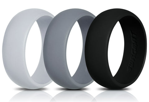 Image of Men's Silicone Wedding Ring Bands - Black, Medium Gray, Light Gray - 8.7mm