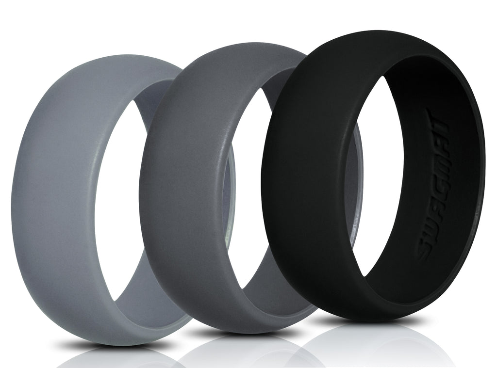 Men's Silicone Wedding Ring Bands - Black, Dark Gray, Medium Gray - 8.7mm