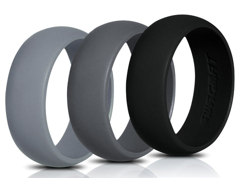 Image of Men's Silicone Wedding Ring Bands - Black, Dark Gray, Medium Gray - 8.7mm