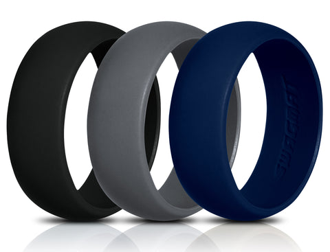 Men's Silicone Wedding Ring Bands - Black, Blue, Dark Gray - 8.7mm