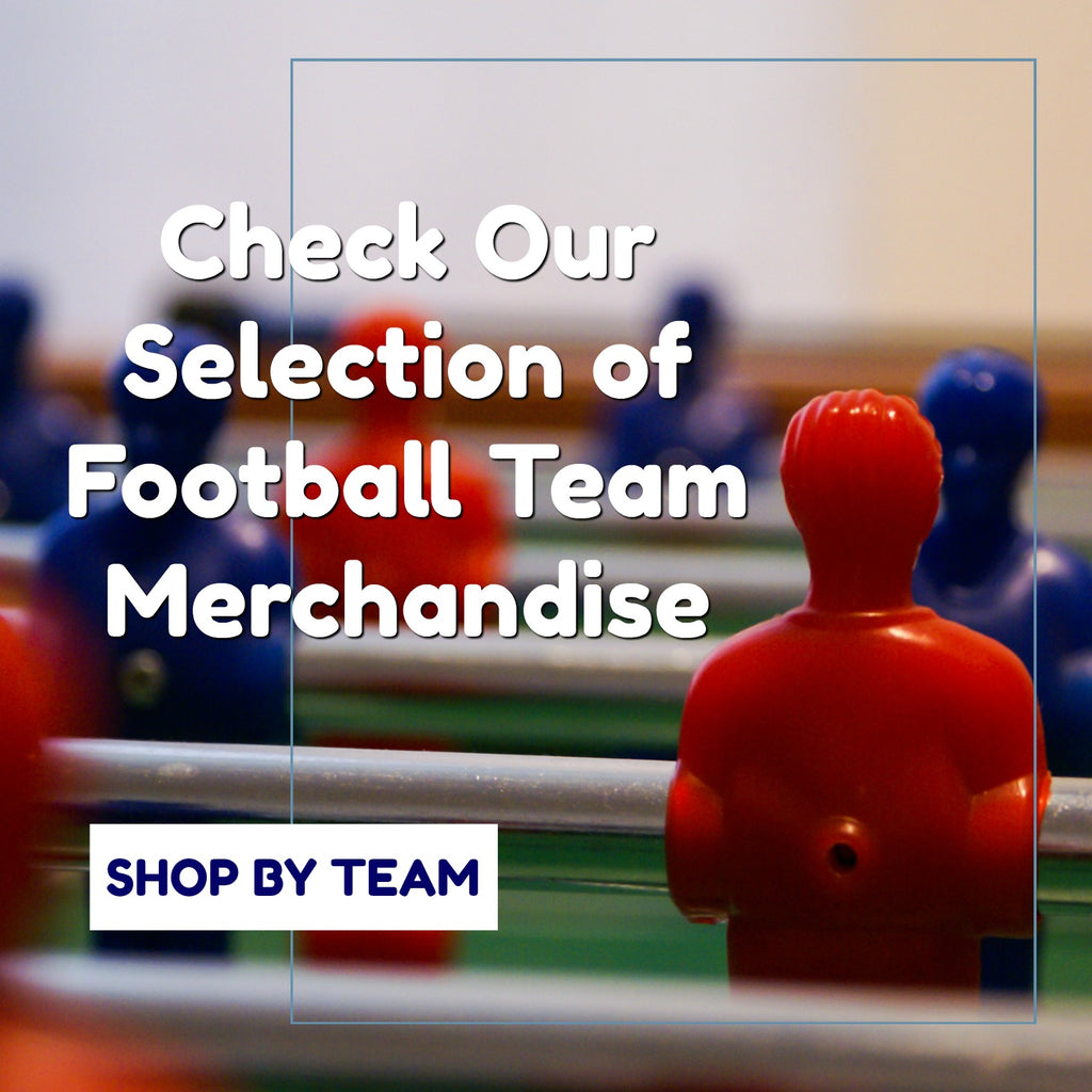 Check our selection of football team merchandise right here! Ideal for supporting your team and available at great prices!