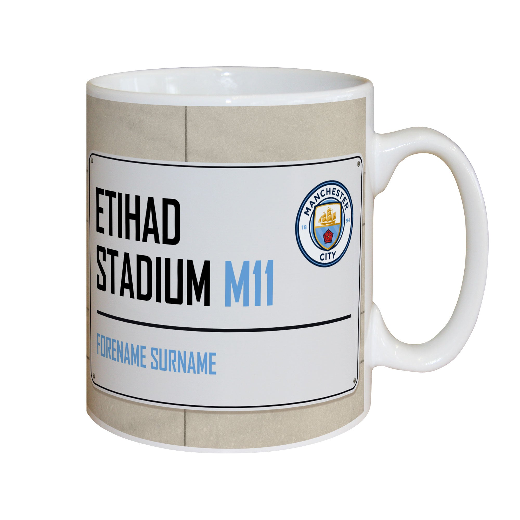 Personalised Manchester City FC Street Sign Mug, Kitchen & Dining by Sports Gifts Direct
