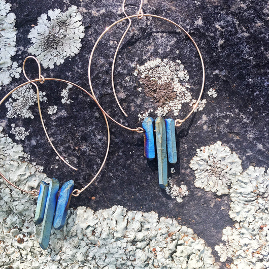 Mystic Blue Quartz Hoops
