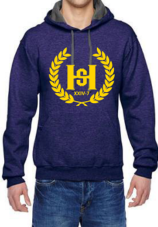 H2E Crest logo pullover Hoodie - Heather Grape / University Gold