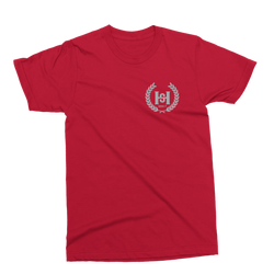 H2E Crest Tee - Red/Metallic Silver Crest