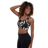 H2E Padded Sports Bra Black/White