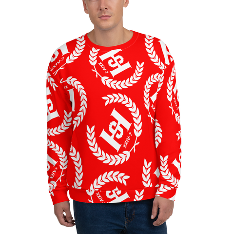 H2E Printed Unisex Sweatshirt Red/White