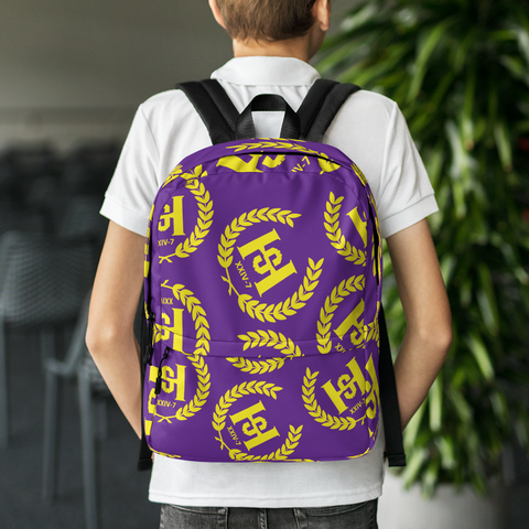 H2E All Over Crest Backpack Purple