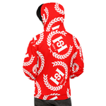 H2E All Over Print Unisex Hoodie Red/White