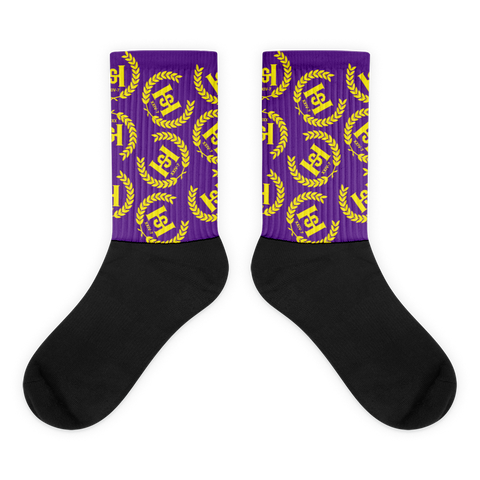 H2E Crest All Over Socks Purple/Gold