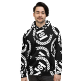 H2E All Over Print Unisex Hoodie Black/White