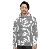H2E All Over Print Unisex Hoodie Grey/White