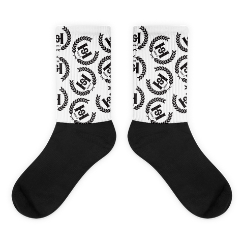 H2E Crest All Over Socks White/Black