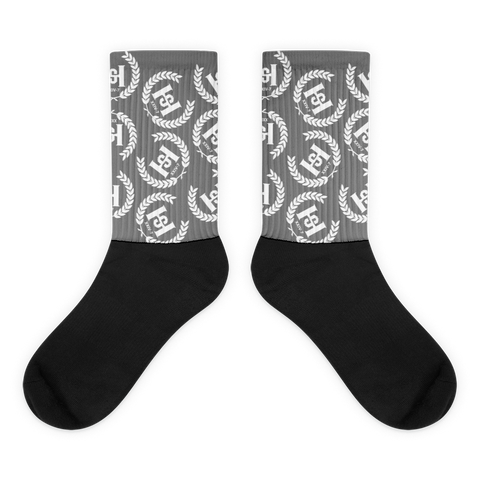 H2E Crest All Over Socks Grey/White