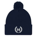 H2E  3D Embroidered Pom-Pom Beanie