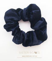Velvet Navy Blue Scrunchie