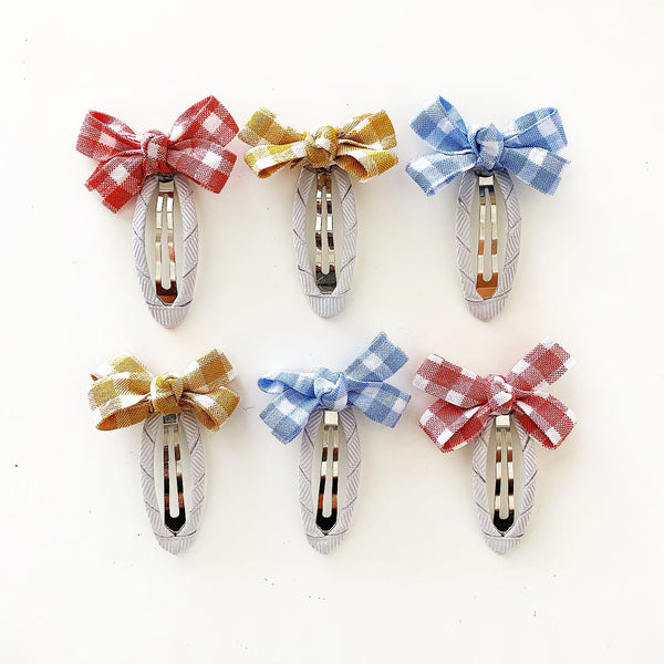 Gingham Bow Clippies (Pair)