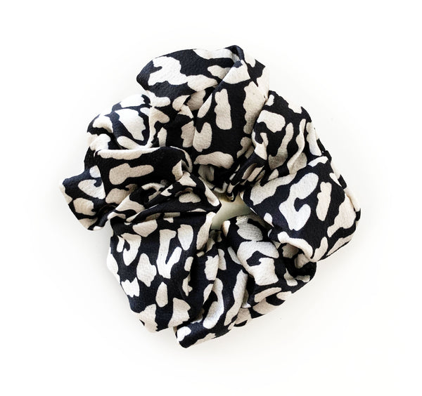Black & White Leopard Scrunchie