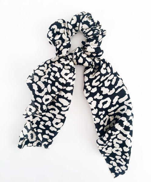 Long Scarf Scrunchie - Black & White Leopard