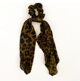 Long Scarf Scrunchie - Leopard