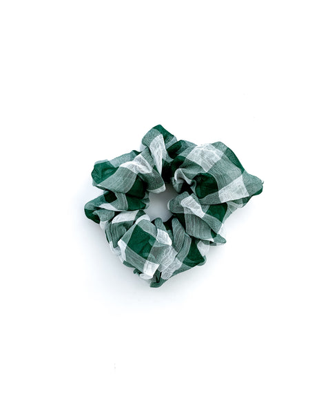 Olive Green Gingham Scrunchie