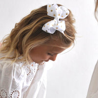 Gold Polkadot Sister Bows - White or Red