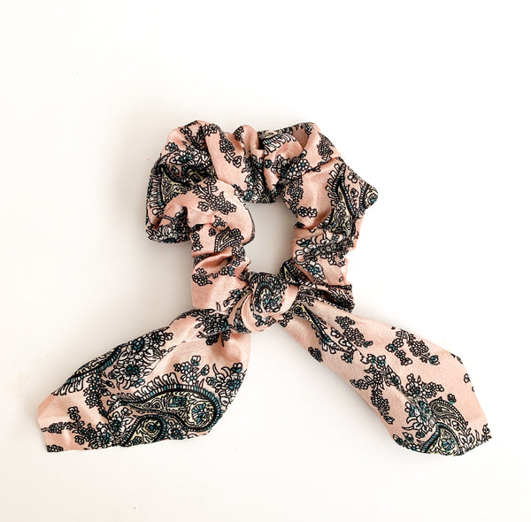 Paisley Pink Scarf Scrunchie