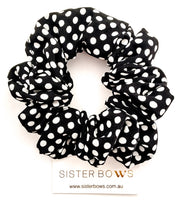 Black Polkadot Scrunchie
