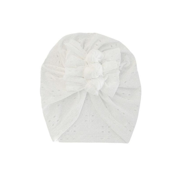 Broderie Lace Triple Knot Turban - White