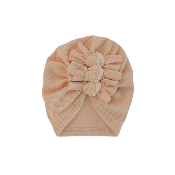 Waffle Cotton Triple Knot Turban - Peach