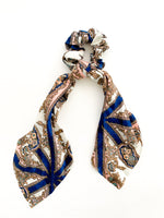Long Scarf Scrunchie - Pink & Navy Paisley