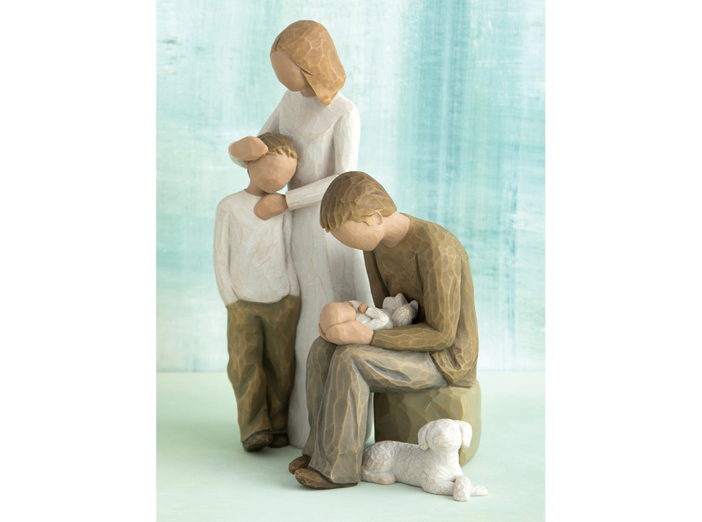 Parents With 2 Children Son Baby And Dog Willow Tree Figurine Family Grouping Buy Now The Shabby Shed