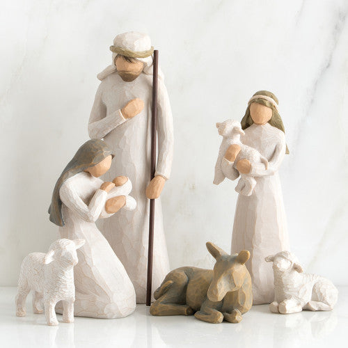 Beginners Nativity Set, With 3 Wise Men, Tree Silhouette