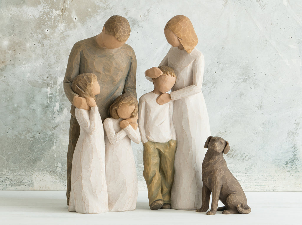 Parents With 2 Girls Son And Dog Willow Tree Figurine Family Group Buy Now The Shabby Shed