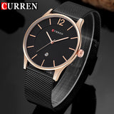 CURREN Luxury Brand Quartz Watch Men's Casual Business Stainless Steel Mesh band Quartz-Watch Fashion Thin Clock male Date New