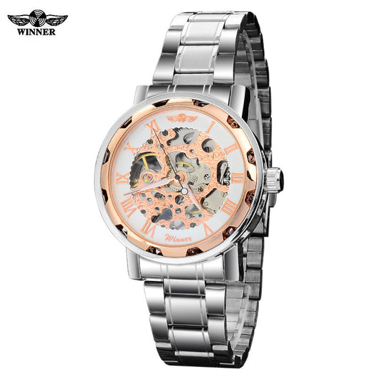 winner brand mens military AUTOMATIC Skeleton mechanical watch stainess steel band 3colours