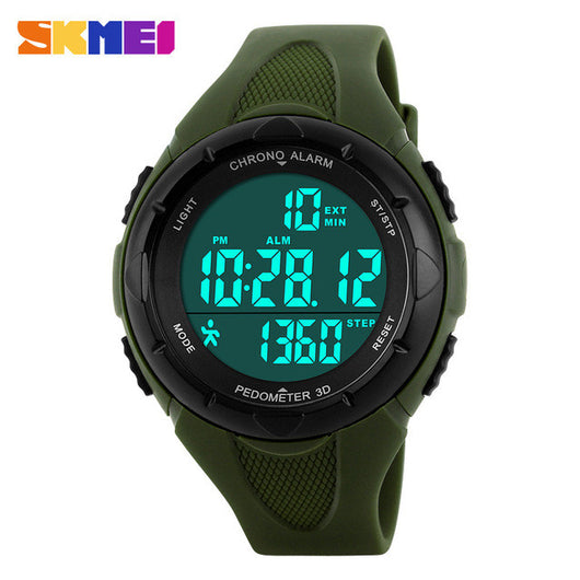 SKMEI 2017 popular brand watches women fashion sport digital LED watch dispaly 50M waterproof pedometer blue red dial PU band