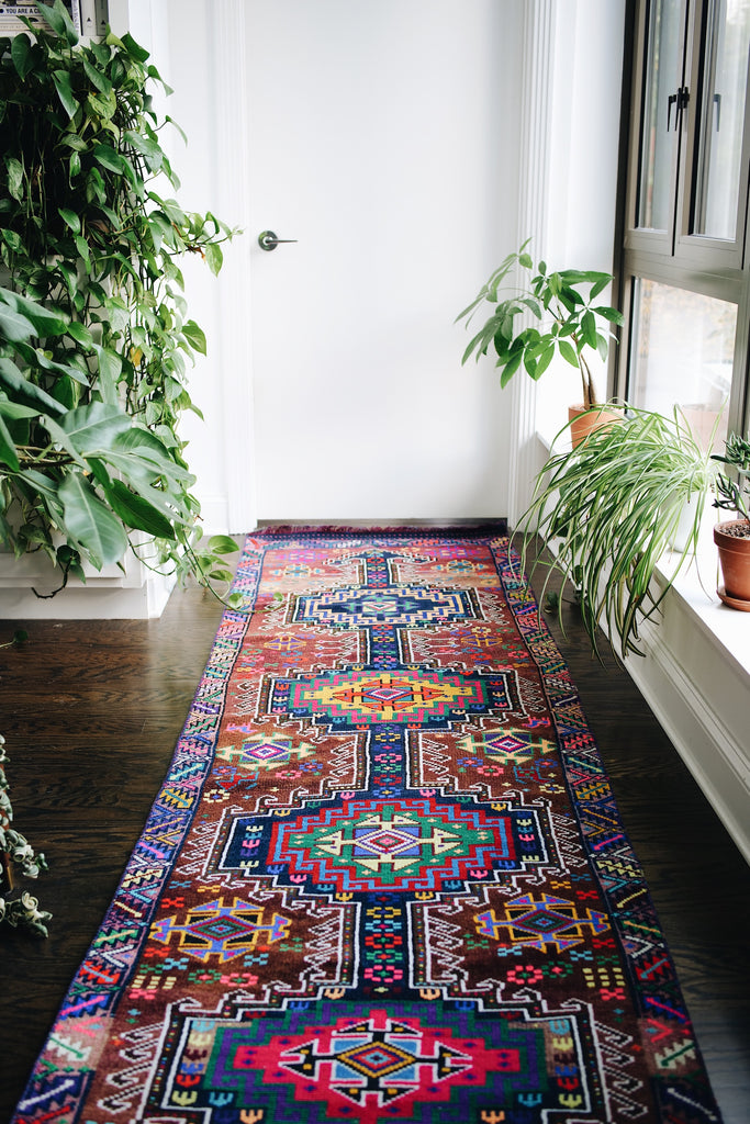 'Rainbow' Vintage Turkish Runner- 2'10'' x 11'9''