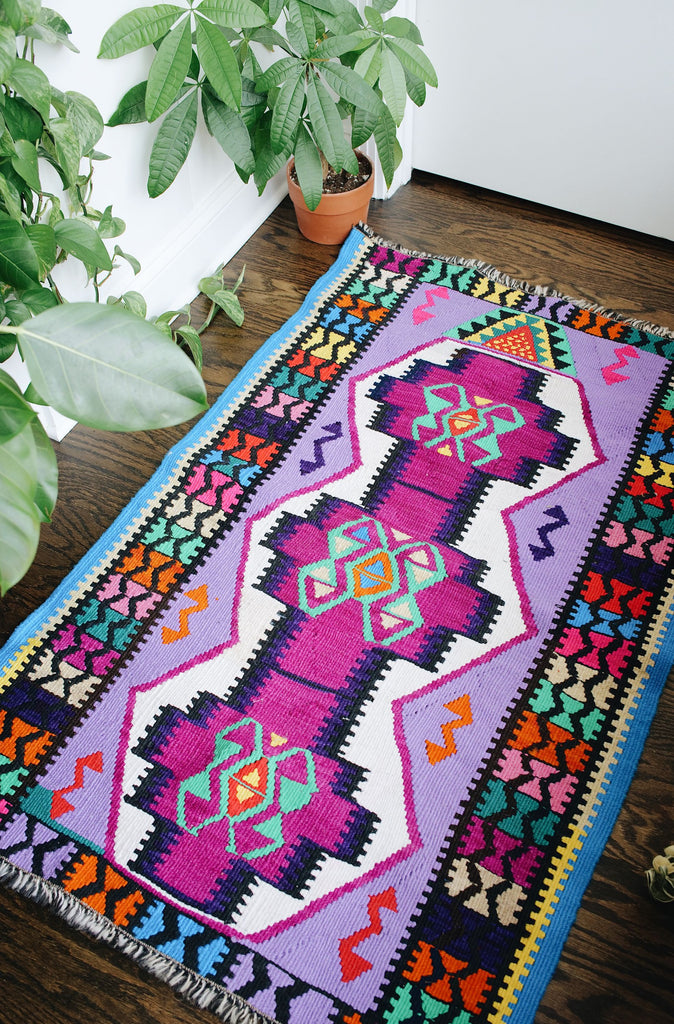 "'Confetti' Small Vintage Turkish Kilim Rug - 2'7.5"" x 4'4"""