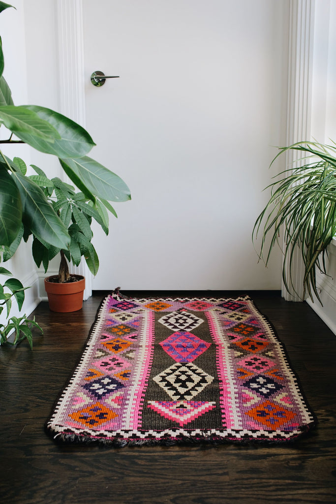 "'Bouquet' Small Vintage Turkish Kilim Rug - 2'2"" x 3'11"""
