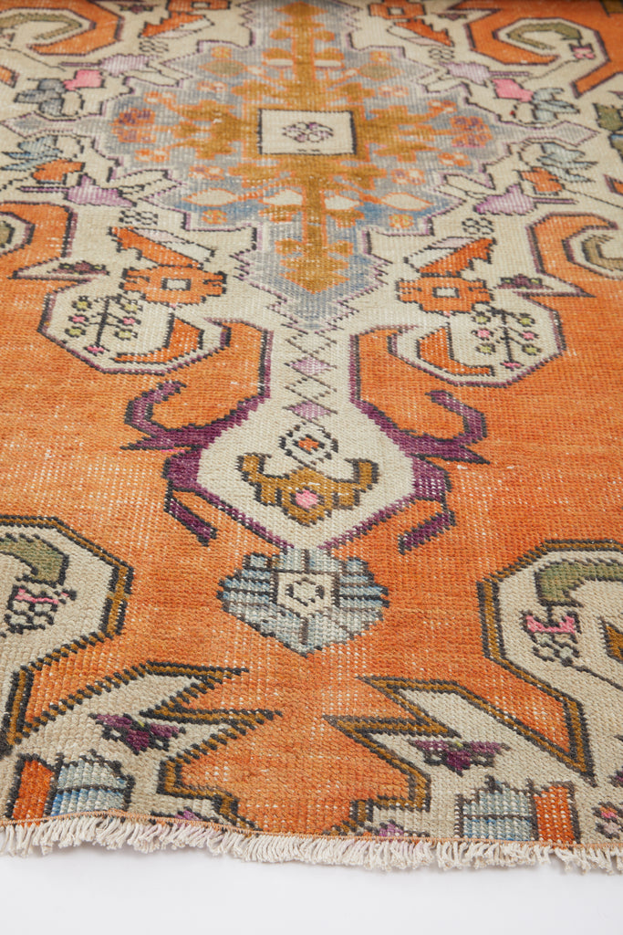 'Peach' Distressed Vintage Oushak Area Rug - 3'7'' x 6'5''