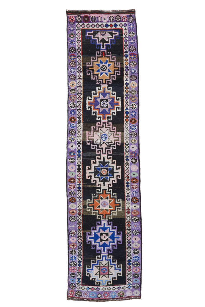 'Wisteria' Vintage Turkish Runner - 2'5'' x 10'1'' - Canary Lane - Curated Textiles