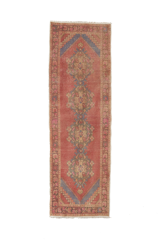 "'Posey' Turkish Vintage Runner - 3'3"" x 10'1"" - Canary Lane - Curated Textiles"