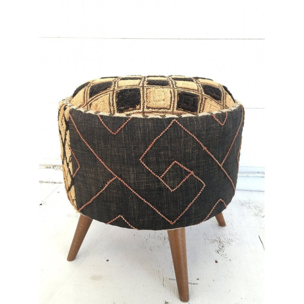 Kuba Cloth Foot Stool - Canary Lane - Curated Textiles