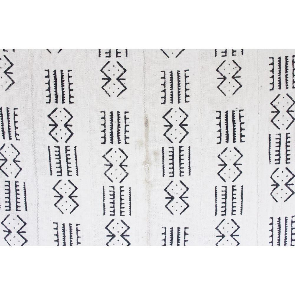 Authentic White Mudcloth - Dashes & Diamonds - Canary Lane - Curated Textiles