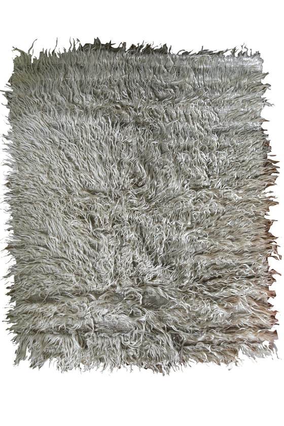'Lace' Primitive Shaggy Angora Tulu Rug - Canary Lane - Curated Textiles