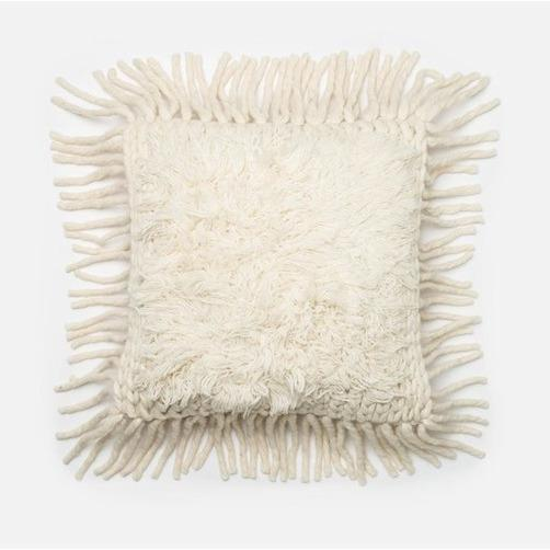 Cream Fringe Pillow - Canary Lane - Curated Textiles