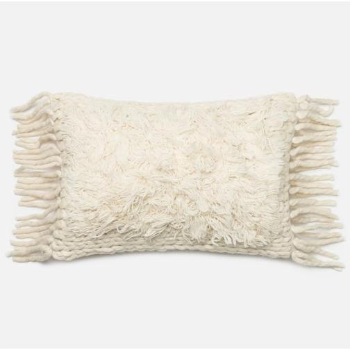 Cream Fringe Lumbar Pillow - Canary Lane - Curated Textiles