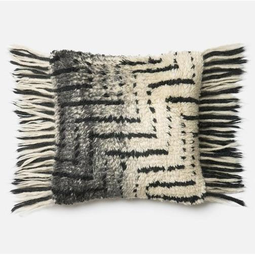 Cream & Charcoal Fringe Pillow - Canary Lane - Curated Textiles